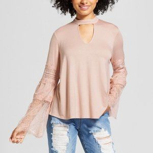 Xhilaration Pink Cut-Out Neck Bell Sleeve Blouse